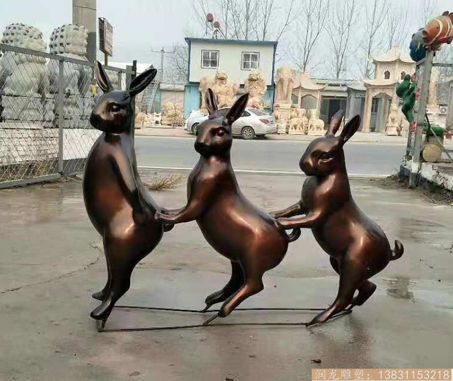 玻璃钢小兔子雕塑 玻璃钢动物雕塑